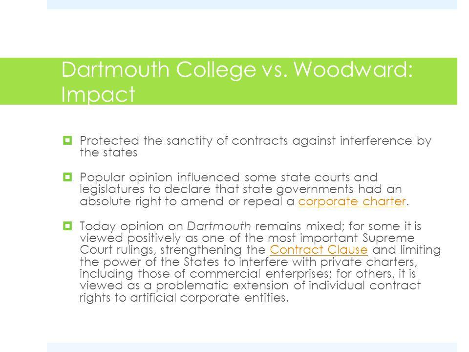Dartmouth College vs. Woodward: Impact