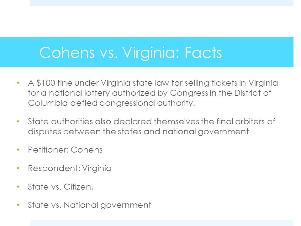Cohens vs. Virginia: Facts
