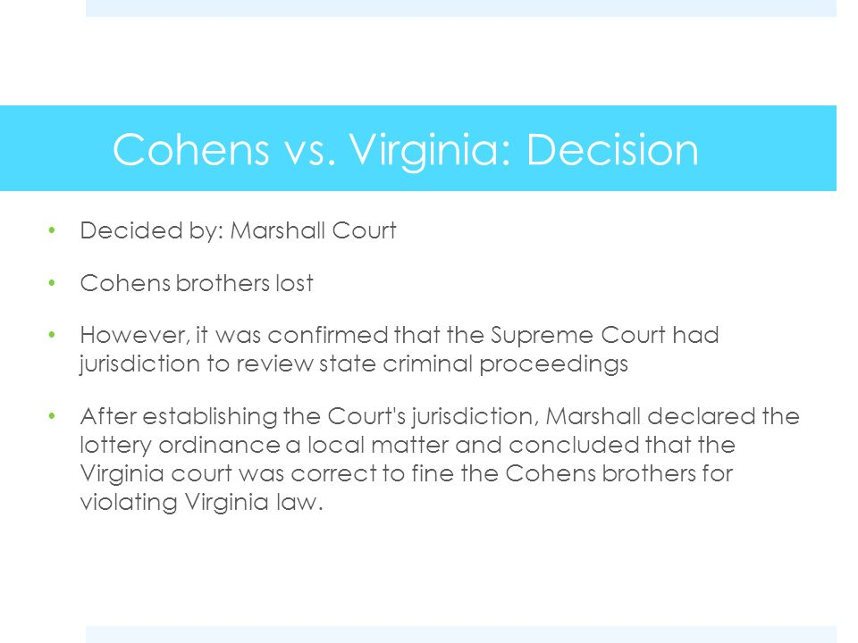 Cohens vs. Virginia: Decision