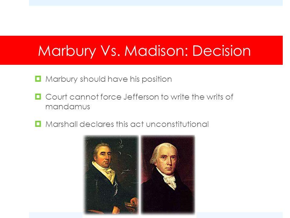 Marbury Vs. Madison: Decision