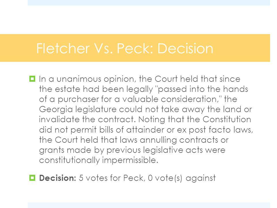 Fletcher Vs. Peck: Decision