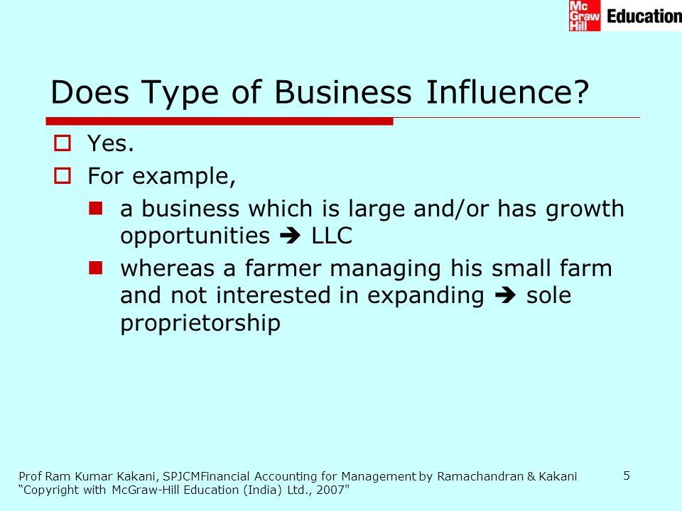 Does Type of Business Influence
