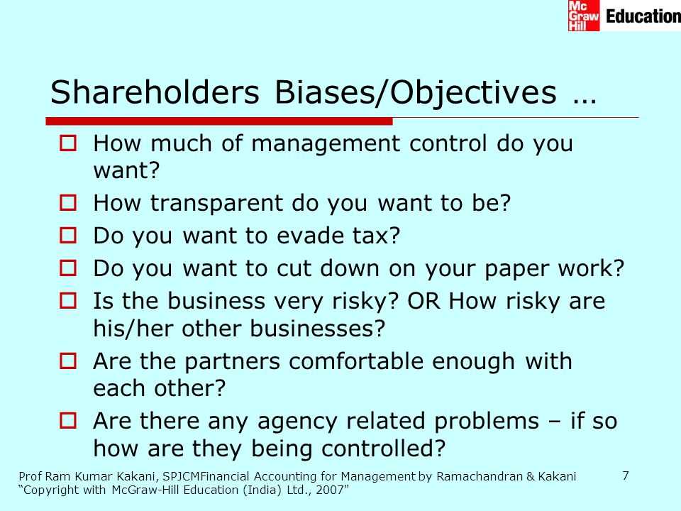 Shareholders Biases/Objectives …