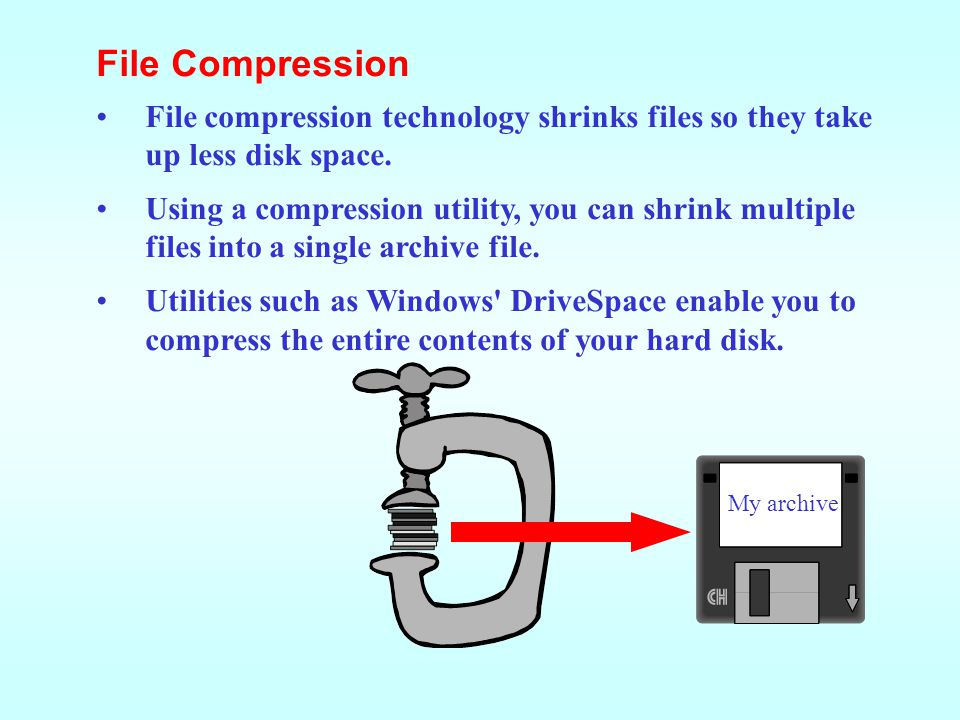 File Compression File compression technology shrinks files so they take up less disk space.