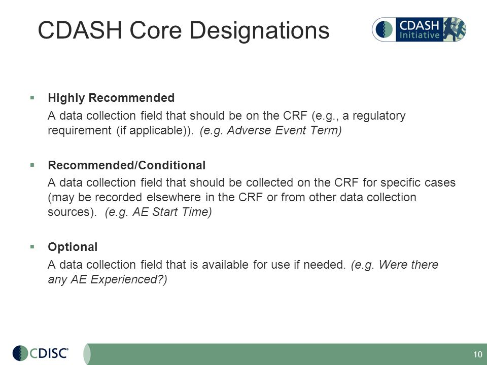 CDASH Core Designations