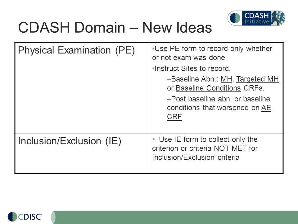 CDASH Domain – New Ideas