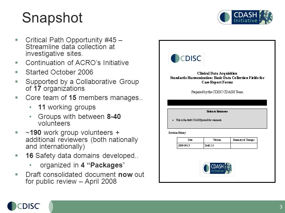 Snapshot Critical Path Opportunity #45 – Streamline data collection at investigative sites. Continuation of ACRO's Initiative.