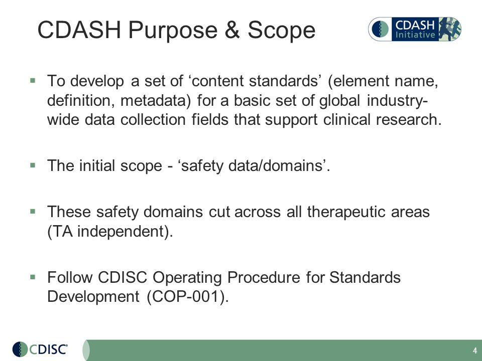 CDASH Purpose & Scope