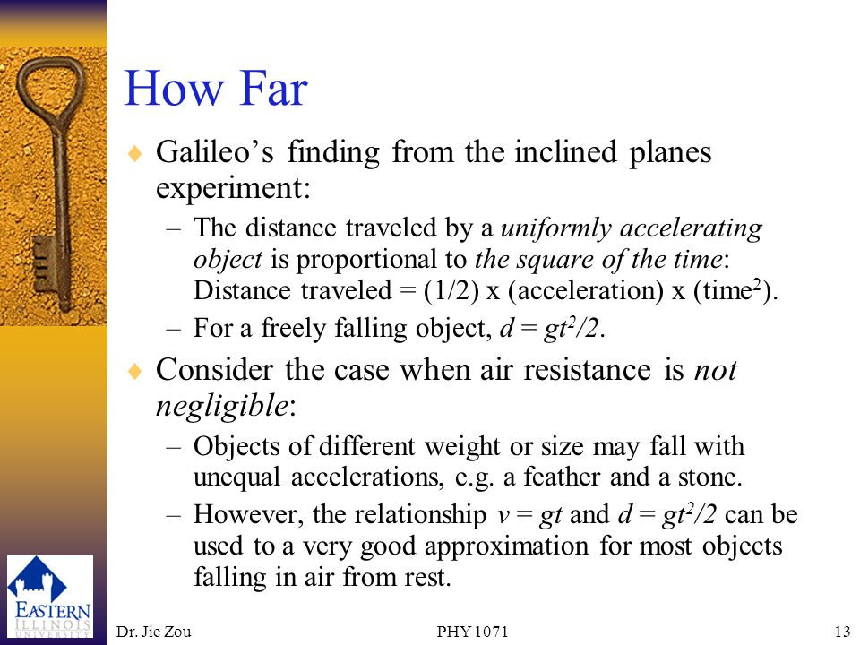How Far Galileo's finding from the inclined planes experiment: