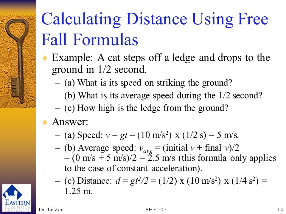 Calculating Distance Using Free Fall Formulas
