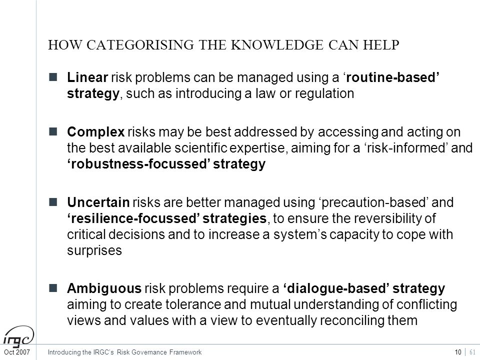 HOW CATEGORISING THE KNOWLEDGE CAN HELP