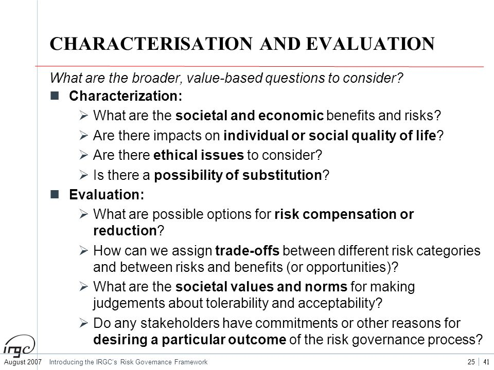 CHARACTERISATION AND EVALUATION