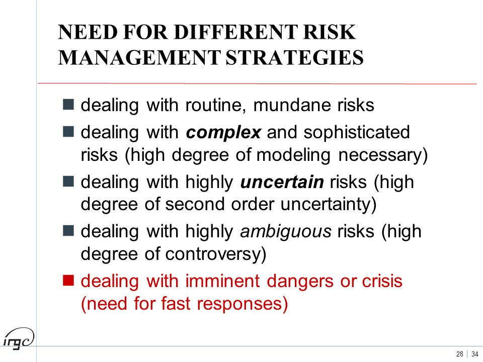 NEED FOR DIFFERENT RISK MANAGEMENT STRATEGIES