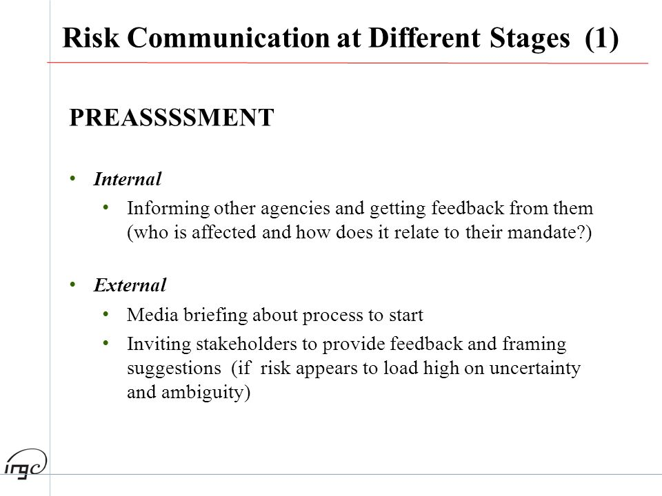 Risk Communication at Different Stages (1)