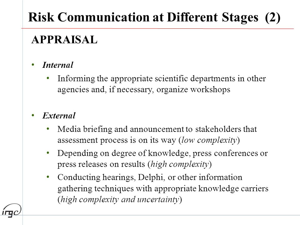 Risk Communication at Different Stages (2)