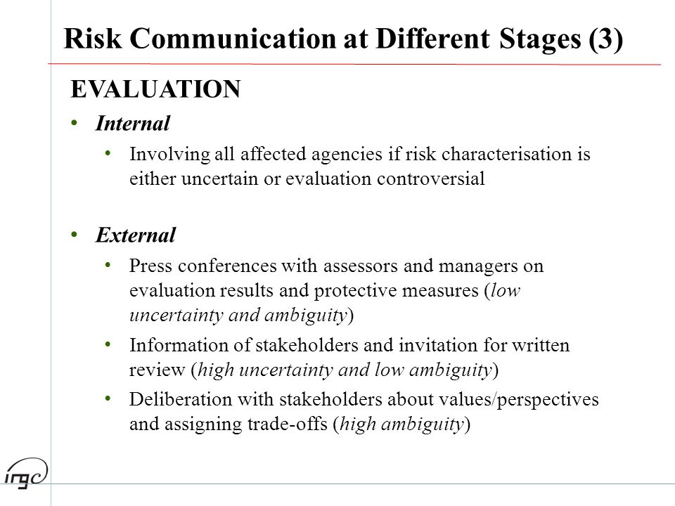 Risk Communication at Different Stages (3)