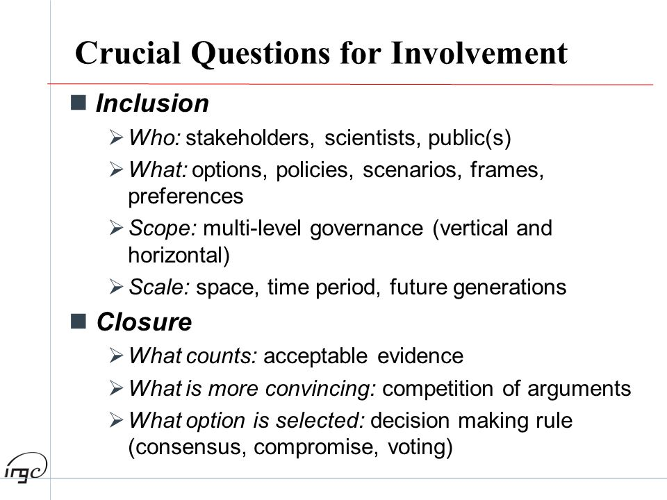 Crucial Questions for Involvement