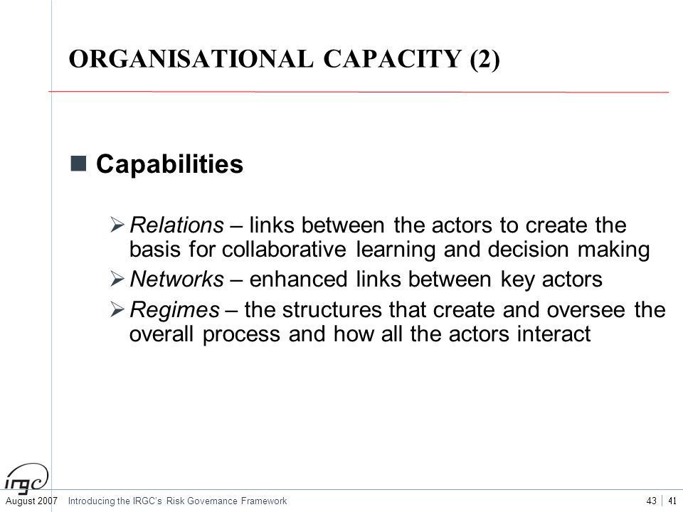 ORGANISATIONAL CAPACITY (2)