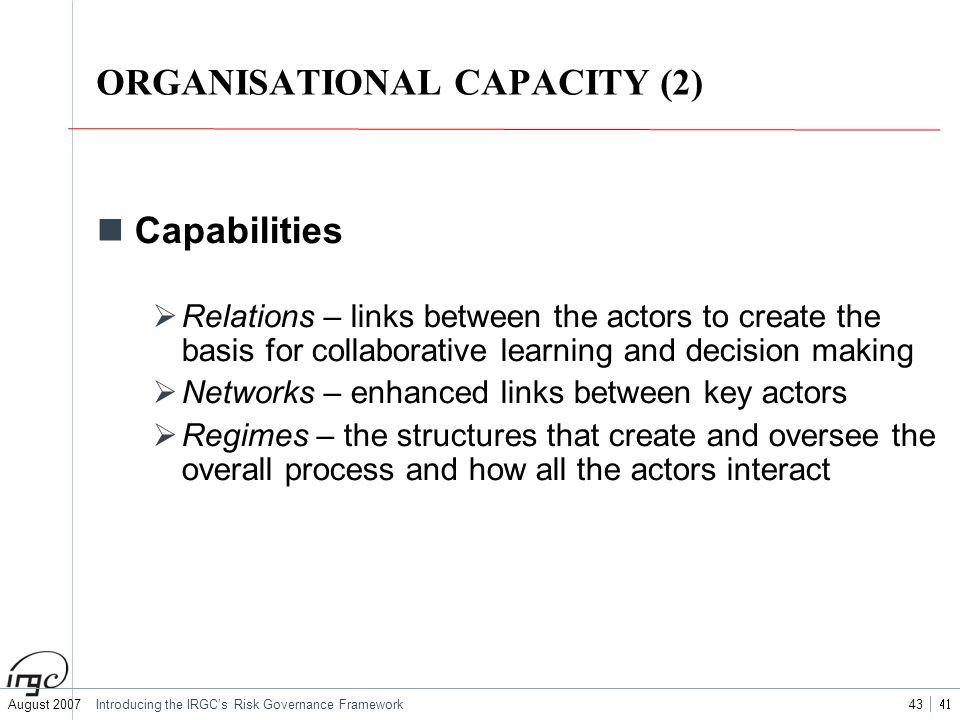 ORGANISATIONAL CAPACITY (2)