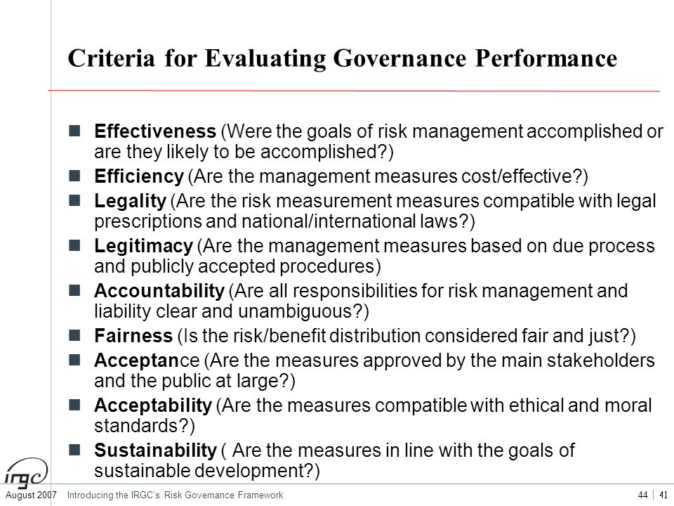 Criteria for Evaluating Governance Performance