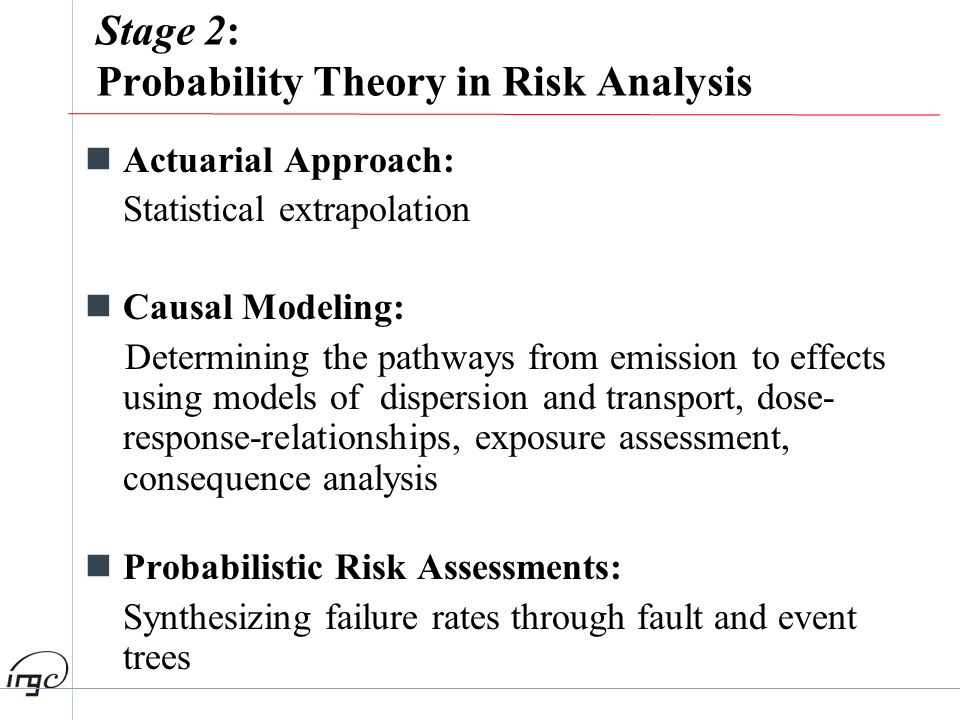 Stage 2: Probability Theory in Risk Analysis