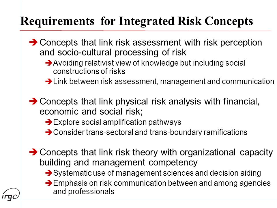 Requirements for Integrated Risk Concepts