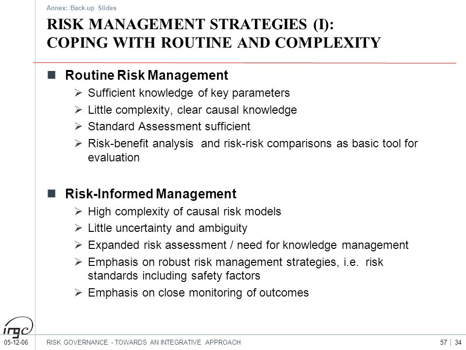 RISK MANAGEMENT STRATEGIES (I): COPING WITH ROUTINE AND COMPLEXITY
