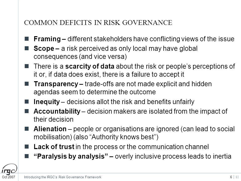 COMMON DEFICITS IN RISK GOVERNANCE