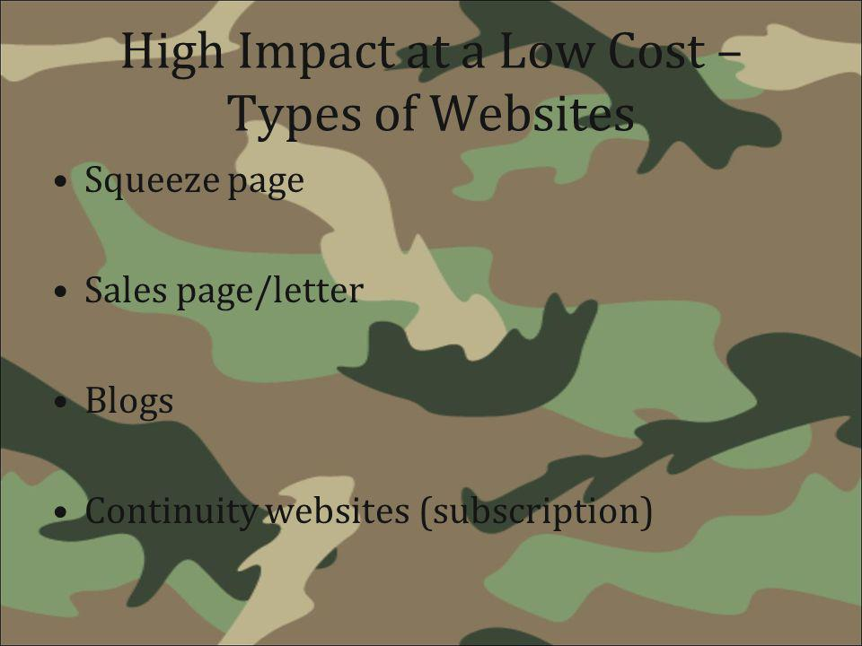 High Impact at a Low Cost – Types of Websites