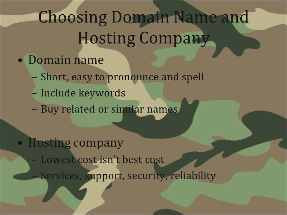 Choosing Domain Name and Hosting Company