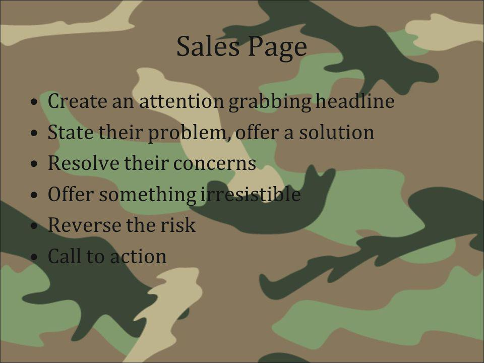 Sales Page Create an attention grabbing headline
