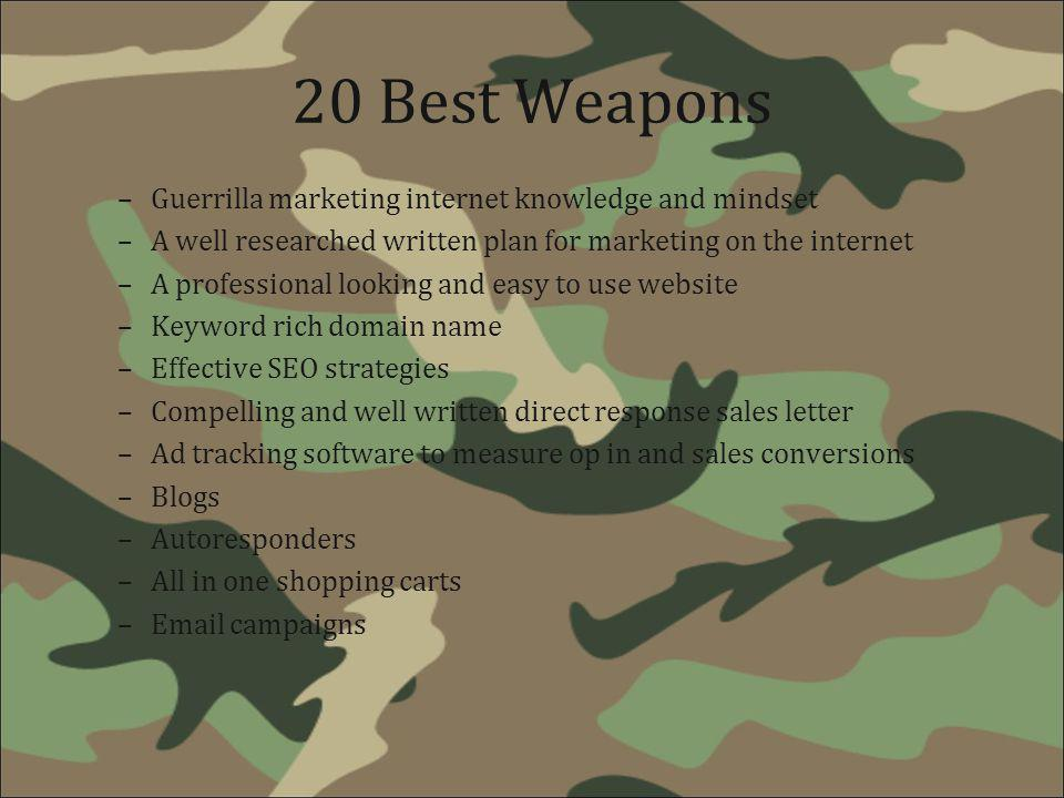 20 Best Weapons Guerrilla marketing internet knowledge and mindset