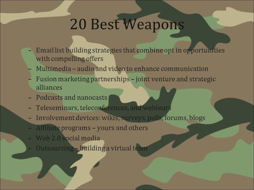 20 Best Weapons Email list building strategies that combine opt in opportunities with compelling offers.