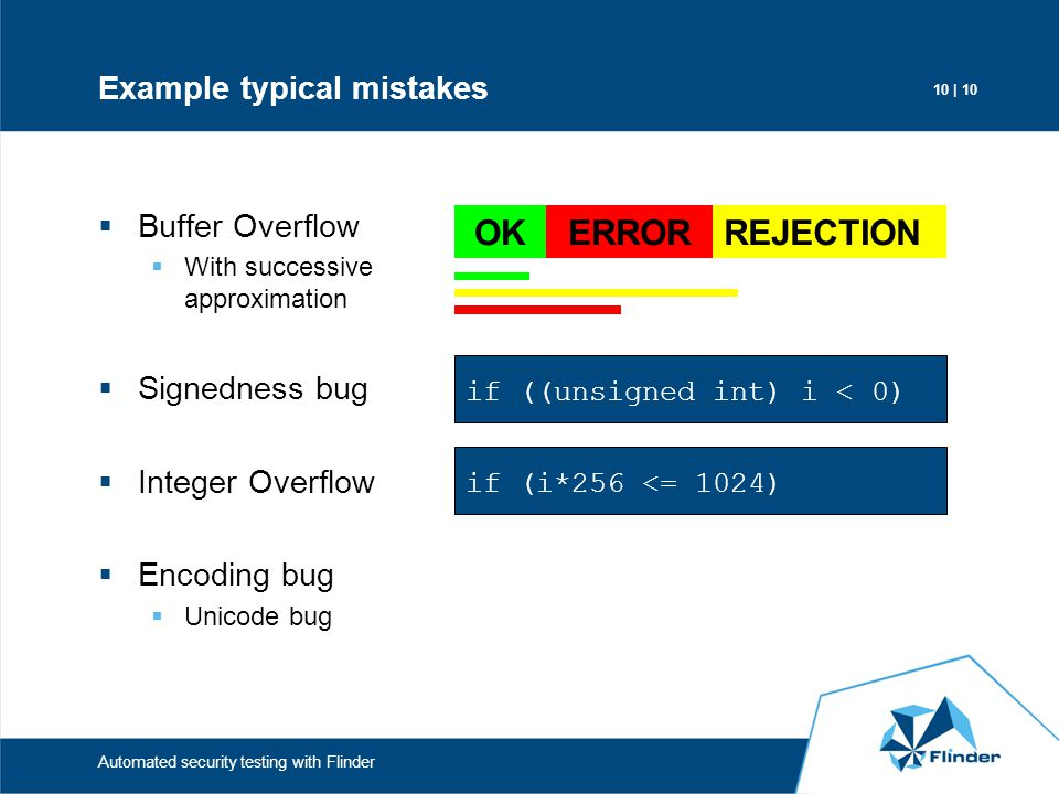 Example typical mistakes