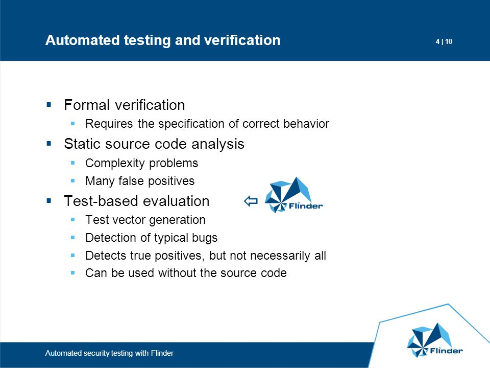 Automated testing and verification