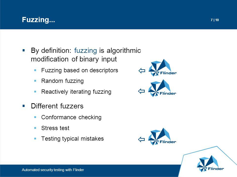Fuzzing... By definition: fuzzing is algorithmic modification of binary input. Fuzzing based on descriptors.