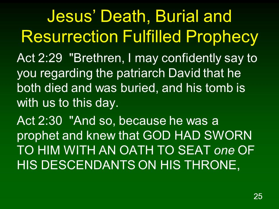 Jesus' Death, Burial and Resurrection Fulfilled Prophecy