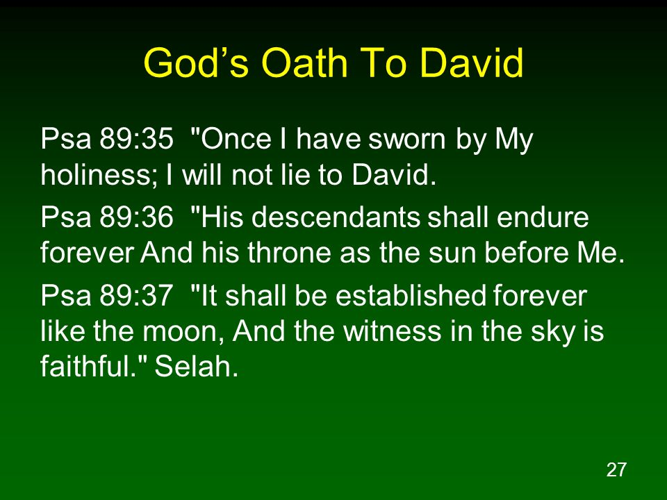 God's Oath To David Psa 89:35 Once I have sworn by My holiness; I will not lie to David.
