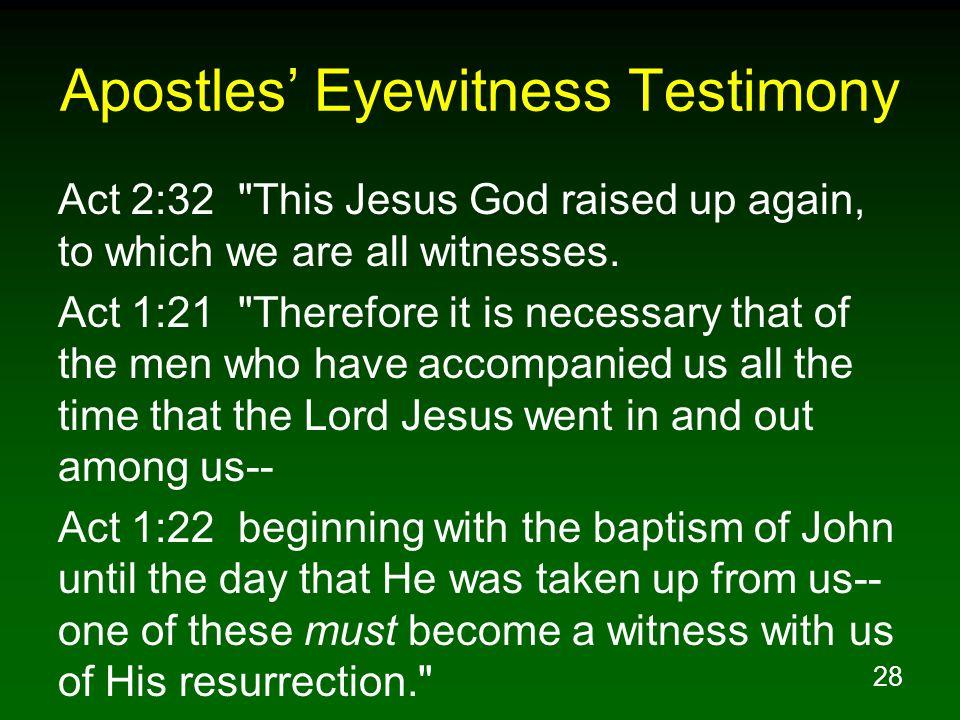 Apostles' Eyewitness Testimony