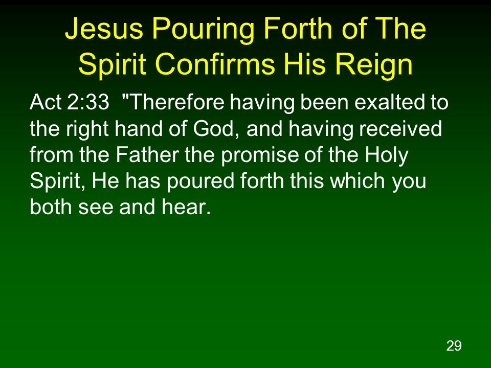 Jesus Pouring Forth of The Spirit Confirms His Reign