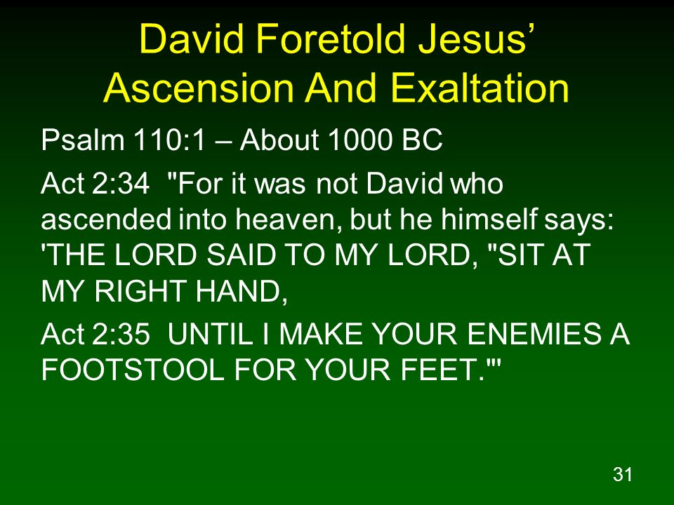 David Foretold Jesus' Ascension And Exaltation