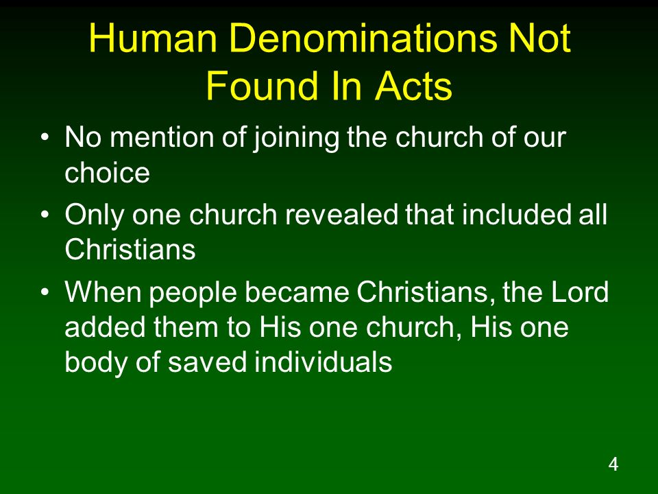 Human Denominations Not Found In Acts