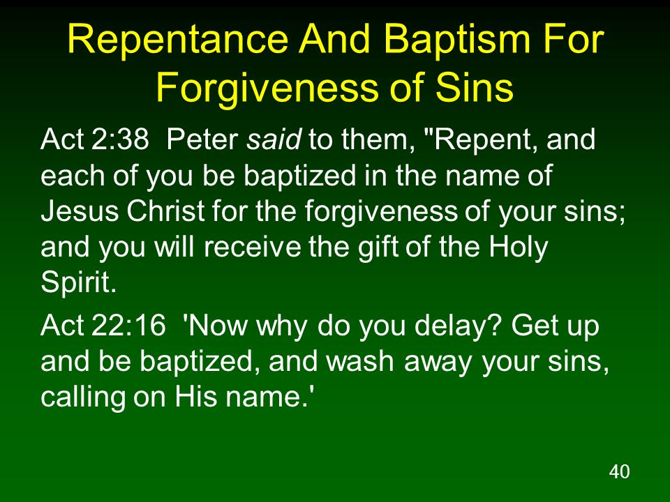 Repentance And Baptism For Forgiveness of Sins