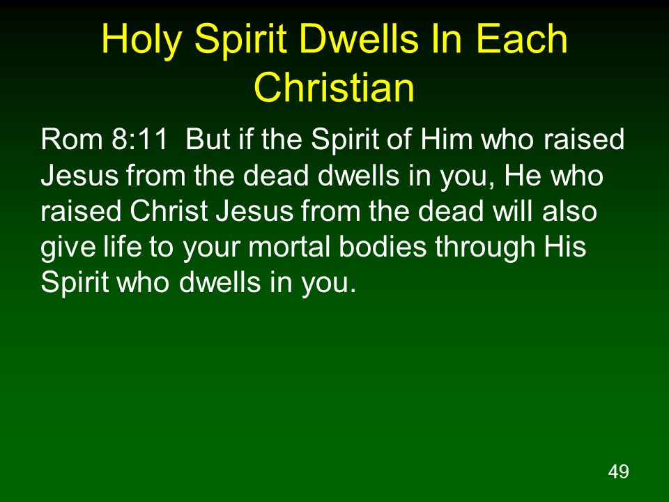 Holy Spirit Dwells In Each Christian