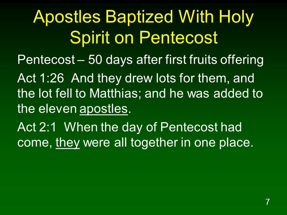 Apostles Baptized With Holy Spirit on Pentecost