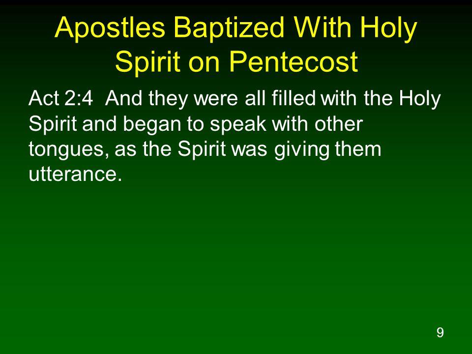 Apostles Baptized With Holy Spirit on Pentecost