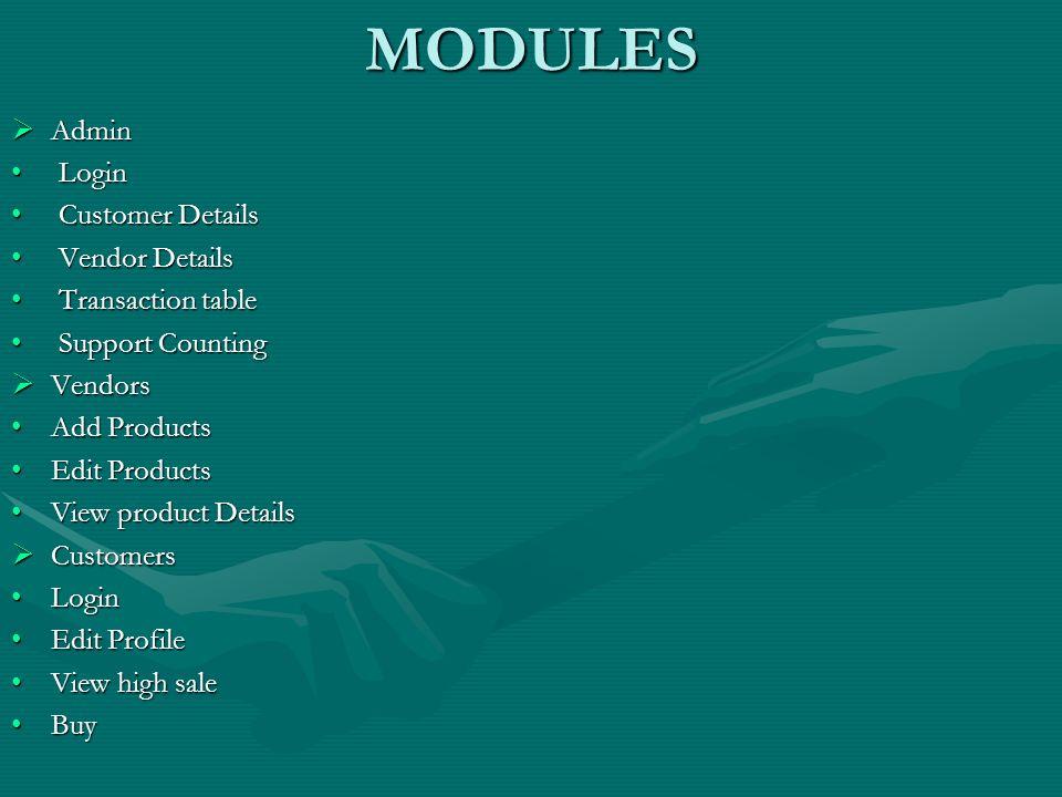 MODULES Admin Login Customer Details Vendor Details Transaction table