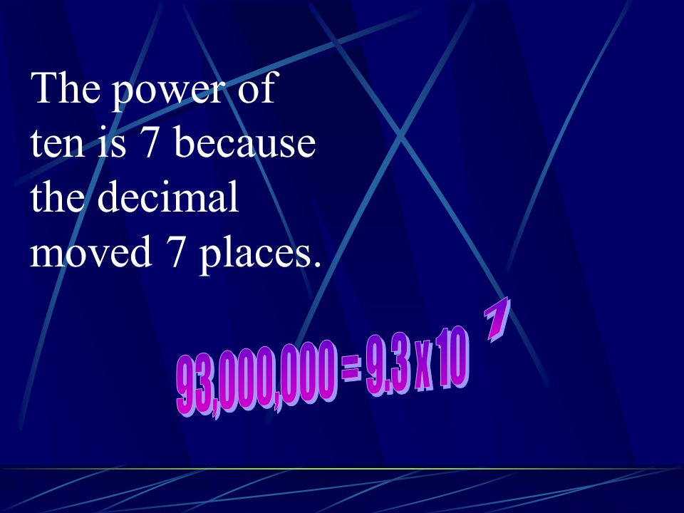 The power of ten is 7 because the decimal moved 7 places. 7