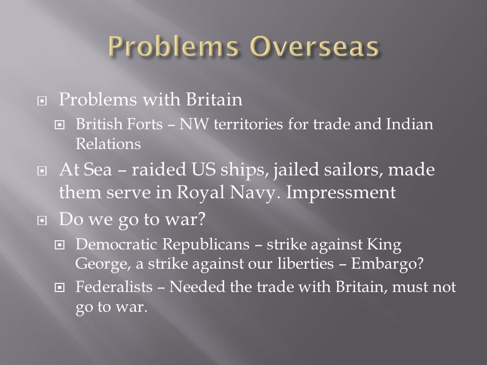 Problems Overseas Problems with Britain