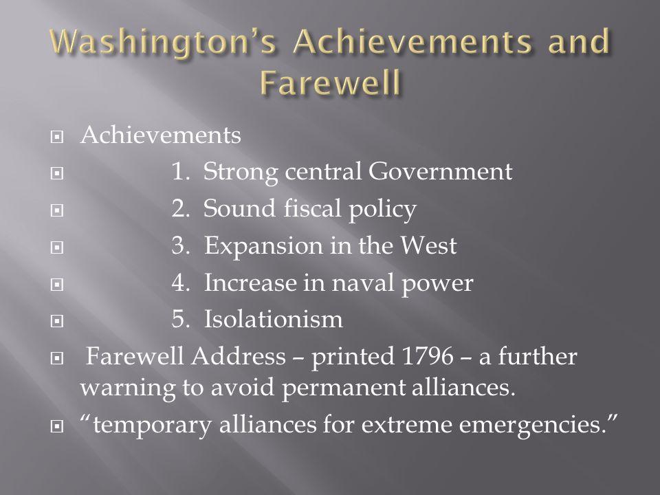 Washington's Achievements and Farewell